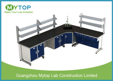 L Shape Hospital Lab Furniture Laboratory Desk With Plywood Cabinet Epoxy Worktop