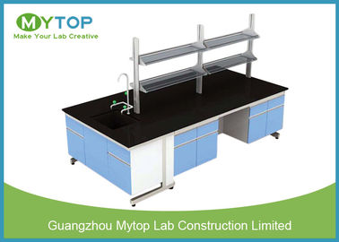 C Frame Medical Workbench Furniture With MDF Cabinet Black Epoxy Resin Worktop